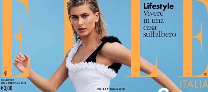 Hailey Baldwin estampa capa da Elle Itália de Junho 2018